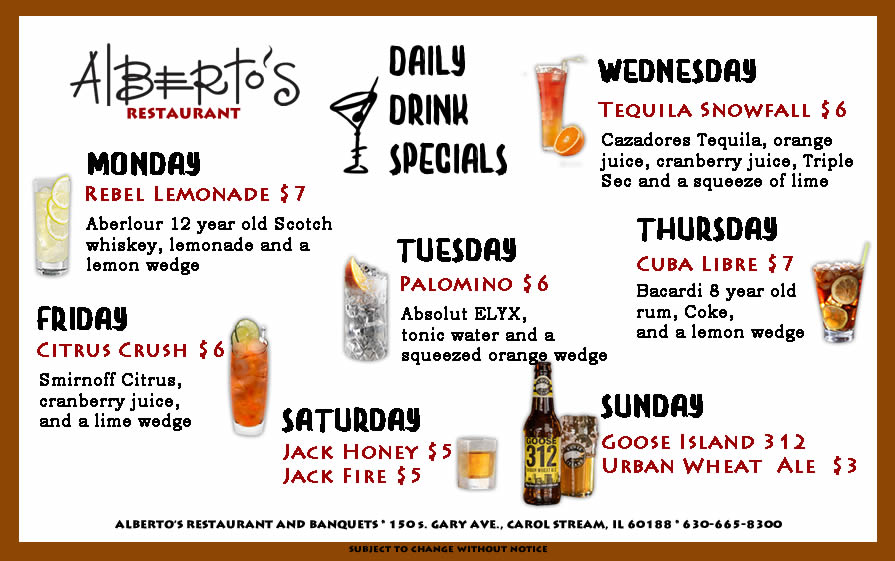 Alberto S Restaurant Announces New Daily Drink Specials For